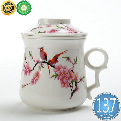 China Tea-Cup(13.7oz)with Sieve and Lid,TEANAGOO-Neptune,Travel Ceramic Steel Strainer, Big Tea-Mug Set,Steeping Infuser,Unique Large Steeper Men Mom Adult Support Marker,Birthday Party Microwave Safe