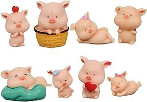 TangTanger 8 pcs (1 set) Kawaii Animal Pig Characters Toys Mini Figure Collection Playset, Cake Topper, Plant, Automobile decoration