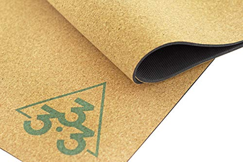 Luxury Cork Yoga Mat – Large Thick & Wide Natural Rubber Mats – Organic Non Toxic Eco Friendly Material – Non Slip Sweat Absorbent Extra Long Exercise Foldable Travel Mat for Pilates – 72″ x 26″