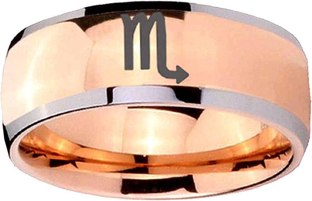 Anillo de Carburo de Tungsteno cóncava Gold IP Grabado Celta Dragon 8 mm