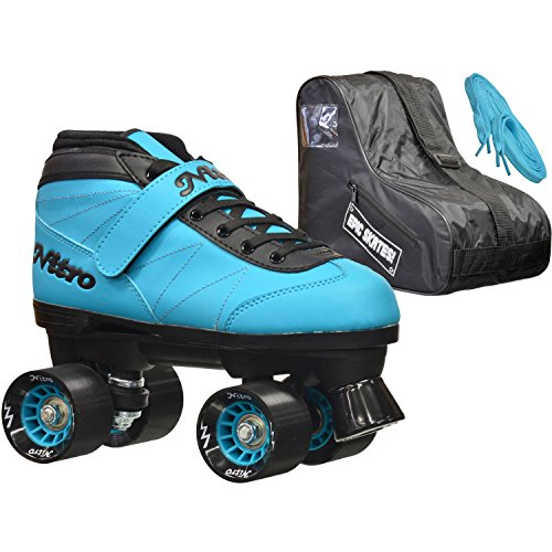 Epic Skates Epic Nitro Turbo Blue Quad Speed Roller Skates Package