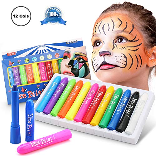 Face Paint Hypoallergenic Safe & Non-Toxic Face and Body Paint Crayons,Romanda 12 Colors Halloween Makeup Face Painting Kits for -