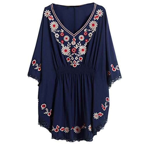 Kafeimali Women's Bat sleeve Embroidered Loose Peasant Butterfly Mexican Blouse (Navy -