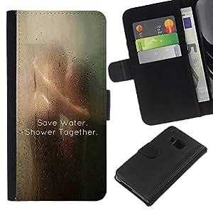 KingStore / Leather Etui en cuir / HTC One M7 / Eau mignon Clever douche sexy