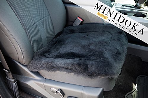 Minidoka Sheepskin Seat Pad, Shorn Wool for Extra Support, Black, 20 x 20, Universal Fit, Leather and Special Non Slip Backing for Comfort in Car, Plane, Office, or Home, by Desert Breeze Distributing
