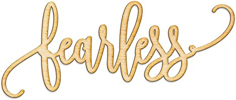 Amazon Com Woodums Fearless Script Word Wood Sign Home Décor Wall Art For Gallery Wall Unfinished 18 Wide X 8 Tall Home Kitchen