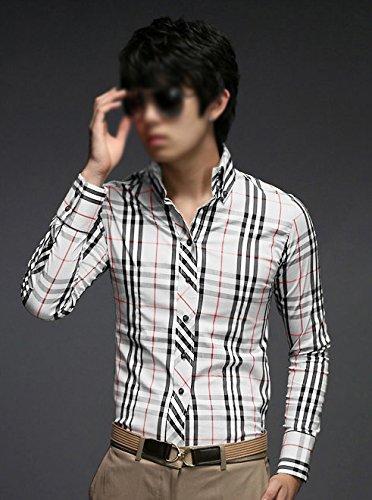 SODIAL(R) Hommes Mode Design Luxe Elegant Mince Fit Casual Tenu Chemise a Carreaux Plaids Blanc M