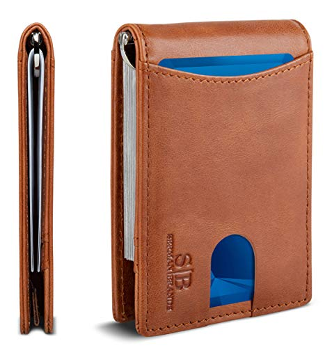 Travel Wallet RFID Blocking Bifold Slim Genuine Leather Thin Minimalist Front Pocket Mens Wallets with Money Clip - Made From Full Grain Leather (Dark Caramel 1.S)