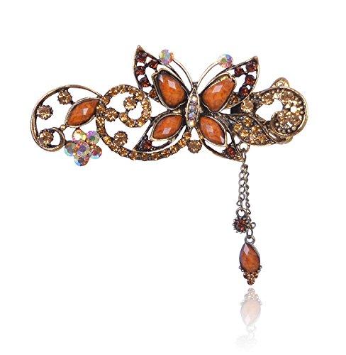 Buankoxy Women's Vintage Crystal Butterfly Hair Clip Head Wear- For Hair Clip Beauty Tools (Coffe)