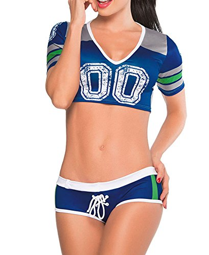 Sexy Womens Short Sleeve Fantasy Football Costume