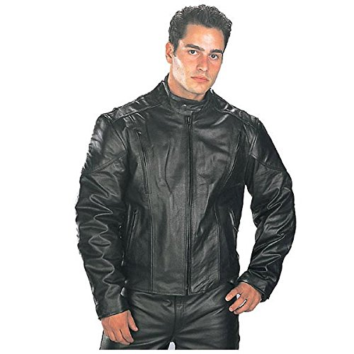 (Xelement B7201 Mens Top Grade Leather Motorcycle Jacket with Zip-Out Lining - 2X-Large)