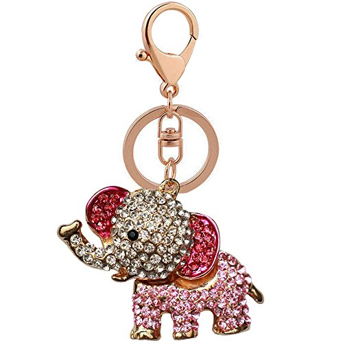 Bolbove Elephant Keychain Sparkling Rhinestones