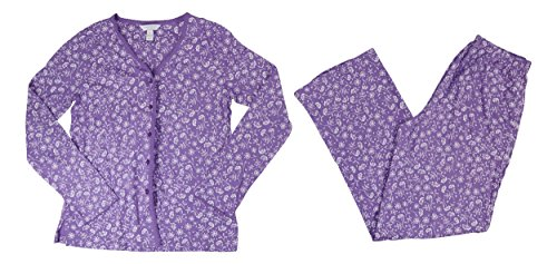 Charter Club 100% Cotton Print Pajama Set (Dragonfly Floral, XXX-Large)