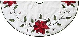 Kurt S. Adler Kurt Adler 54-Inch Ivory with Holly Leaves and Poinsettia Tree Skirt, red, Green, White