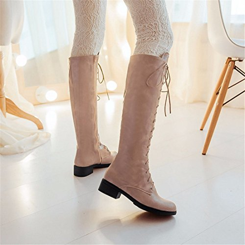 straps high cylinder winter to low boots Autumn and cross size high boots Beige xYqaaPBw