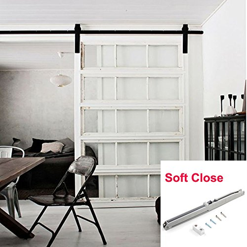 WINSOON Single 13FT American Country Style Barn Wood Door Hardware Kit Sliding Rollers Track with Soft Close Mechanism