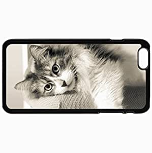 Customized Cellphone Case Back Cover For iPhone 6 Plus, Protective Hardshell Case Personalized Cat Furry Lying Rest Black