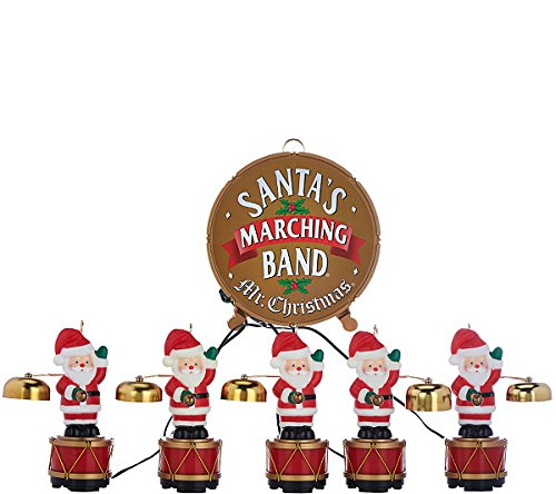 Mr. Christmas Santa's Marching Band Musical Figurines - 35 Christmas Carols played with Real Copper Santa Bells, Tree Ornaments or Tabletop Holiday (Marching Band Arrangement)