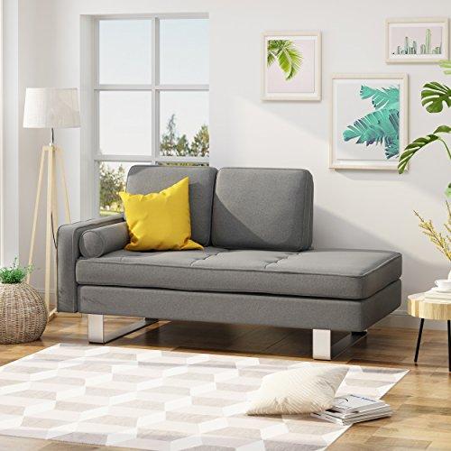 Loveseat Chaise (Phelps Modern Fabric Chaise Loveseat, Grey)