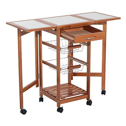 HomCom Portable Rolling Tile Top Drop-Leaf Kitchen Trolley Cart