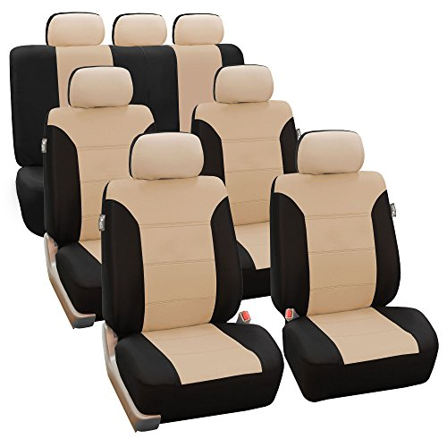 FH Group FH-FB065217 Classic Khaki Three-Row Set Car Seat Covers, Airbag Compatible and Split Bench, Beige/Black- Fit Most Car, Truck, SUV, or Van