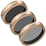 Neewer 3 Pieces Neutral Density ND Filter Kit for Autel X-Star, X-Star Premium Drones, Multi-coated Filters Made of Ultra High Definition Glass and Aluminum Frame, Includes ND4 ND8 ND16 Filters(Gold)