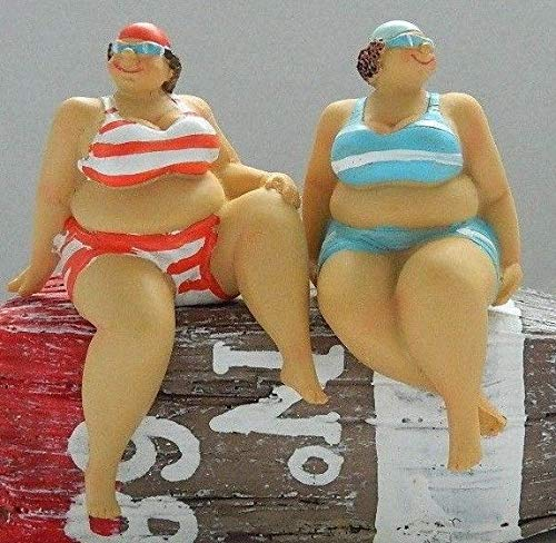 Cauldron Gifts SEASIDE FAT LADIES 12 CM SHELF SITTERS SET OF 2 ORNAMENTS