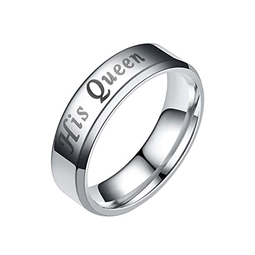 65de0e9425 Amazon.com: Couple Rings His Queen Her King Lover Valentine's Day Present  Best Gift True Love Ring by Fenta: Clothing