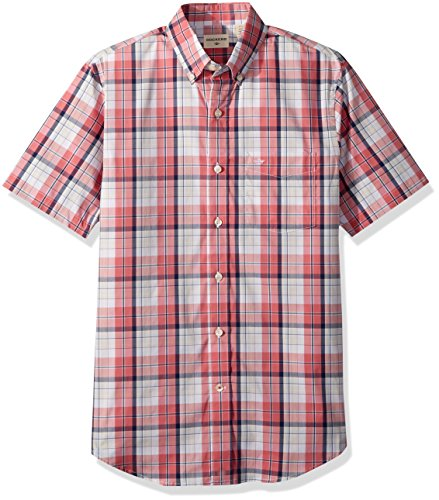 Dockers Men's Short Sleeve Button Down Comfort Flex Shirt, Desert Rose Plaid, Small