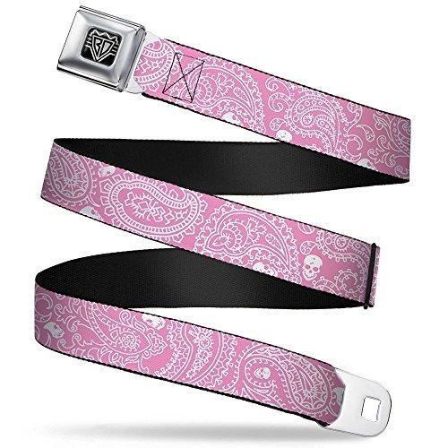 (Buckle-Down Seatbelt Belt - Bandana/Skulls Pink/White - 1.5