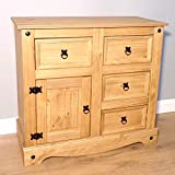 Mercers Furniture Trade Corona 1 Door 4 Drawer Small Sideboard Light Fiesta Wax