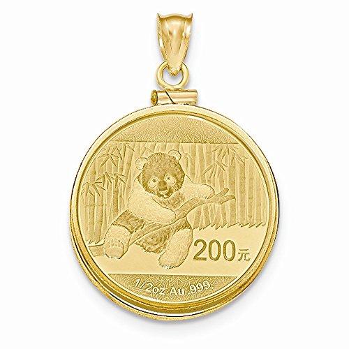 Mia Diamonds 14k Yellow Gold 1/2 oz Mounted Panda Coin Screw Top Coin (Mounted Panda Coin)