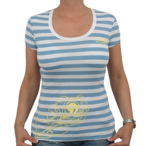 Kani Ladies – Stripes with Feather Girlie T-shirt bleu/blanc