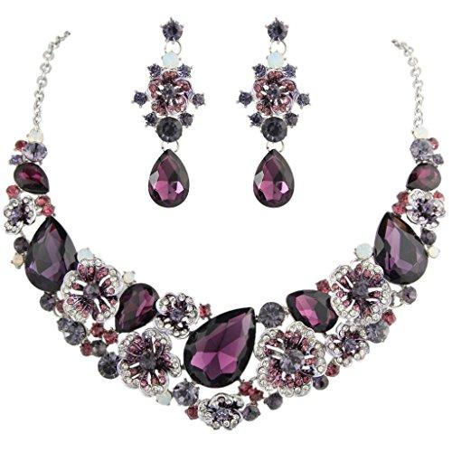 - EVER FAITH Women's Austrian Crystal Teardrop Camellia Necklace Earrings Set Purple Silver-Tone