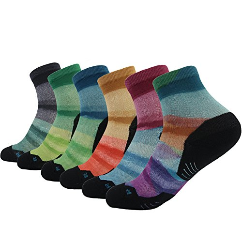 HUSO Men's Women's Colorful Digital Printing All Sports Quick Wicking Crew Ankle Gift Socks 6 pairs ()