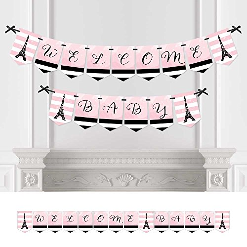 Big Dot of Happiness Paris, Ooh La La - Baby Shower Bunting Banner - Eiffel Tower Party Decorations - Welcome Baby -