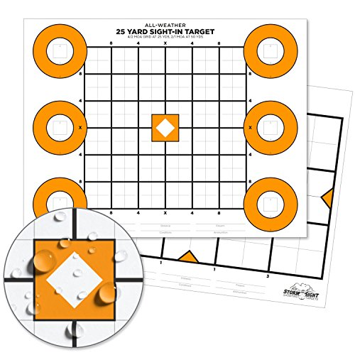 Rite In The Rain Storm Sight Weatherproof Zeroing Target, 8 1/2 x 11, 2-Sided, 25 Yard and 100 Yard templates, 25 Sheet Pack (No. TG8511Z)