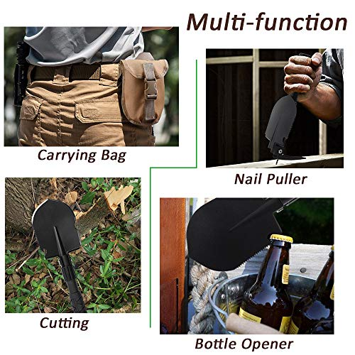 Portable Folding Gardening Shovel Pickaxe with Carrying Pouch Lightweight Durable Military Multitool Tactical Spade for Outdoor Camping Hiking Backpacking Trench Digging Garden Tool Emergency by Yeacool (Image #4)