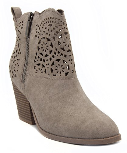 LONDON FOG Womens Ubley Cut Out Design Heeled Ankle Booties Taupe - Glasses Replacement Boots