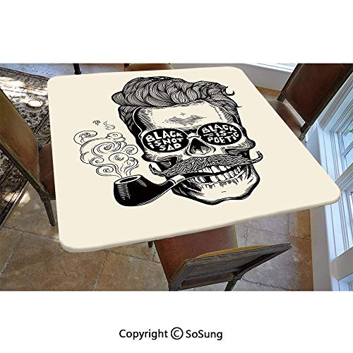 Indie Polyester Fitted Tablecloth,Hipster Gentleman Skull with Mustache Pipe and Eyeglasses with Inscription Vintage Square Elastic Edge Fitted Table Cover,Fits Square Tables 48x48 Black ()