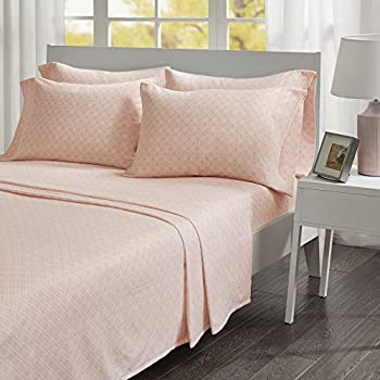 Comfort Spaces - Ultra Soft And Cozy Printed Geometric 100% Cotton Flannel Sheet Set - 6 Piece - Cal King - Pink - Includes 1 Fitted Sheet, 1 Flat Sheet and 4 Pillow Cases