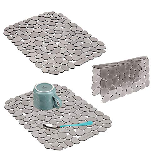 mDesign Decorative Kitchen Plastic Sink Protector Set, Quick Draining - Protect Surfaces and Dishes - Modern Pebble Design - Includes 1 Saddle, 2 Large Mats - Set of 3, Graphite Gray