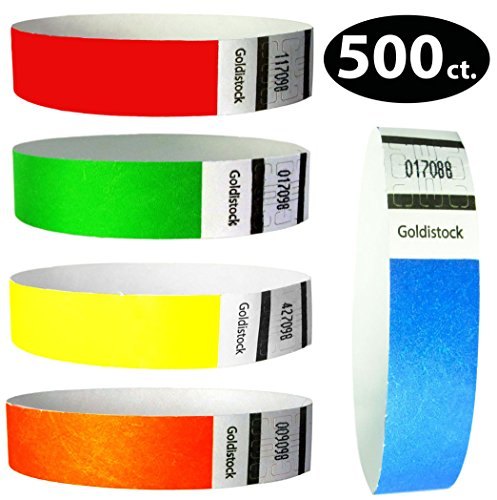 Goldistock 3/4 Inch Tyvek Wristbands Rainbow 500 Ct. Variety Pack- 100 Each: Neon Blue, Green, Yellow, Orange, -