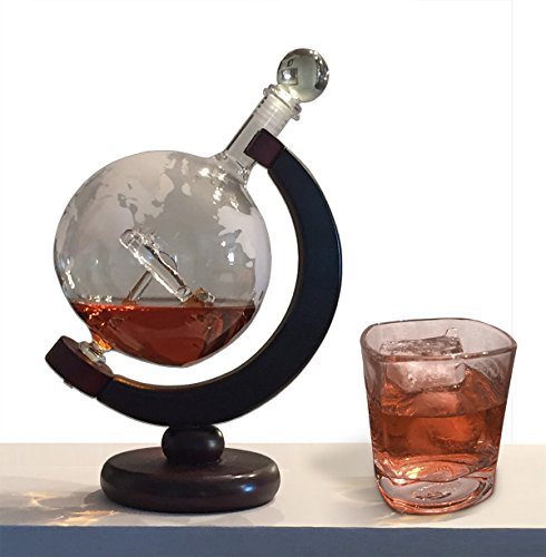 Premium-650ml-Hand-Blown-Etched-Globe-Whiskey-Decanter-with-Plane-inside-22oz-Capacity-Handcrafted--Polished-Wood-Stand-For-Spirits-Liquor-Wine-Whiskey-Scotch-Bourbon