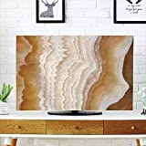 iPrint LCD TV Cover Multi Style,Apartment Decor,Odd Wavy Marble Pattern with New Lines and Shapes Digital Nature Computer Art,Cream,Customizable Design Compatible 32'' TV