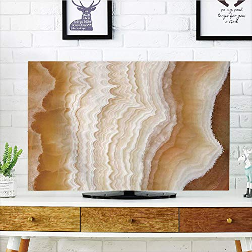 iPrint LCD TV Cover Multi Style,Apartment Decor,Odd Wavy Marble Pattern with New Lines and Shapes Digital Nature Computer Art,Cream,Customizable Design Compatible 32'' TV by iPrint (Image #4)