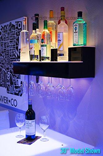 24' 2 Tier Wall Mounted Liquor Display Bar Shelves w/ Wine Glass Rack