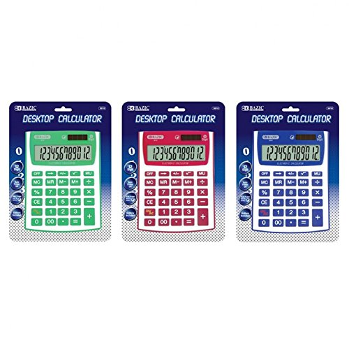 Calculator Desktop, Dual Power Calculator Solar For College - 12 Unit Case by BAZIC-PRODUCTS