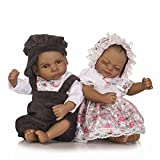 HerIn Mini Reborn Baby Dolls Silicone Full Body, 11'' African American Newborn Twins Doll, Birthday Gift (Magnetic Mouth, Waterproof)