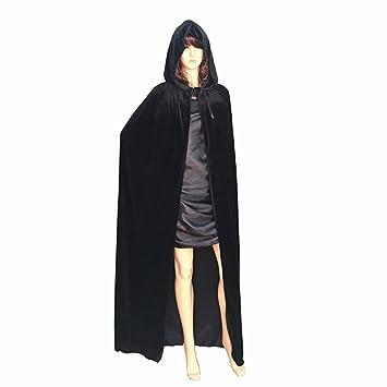Adult/'s Velvet Hooded Cloak Gothic Devil Cape Robe Medieval Witchcraft Costume